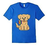 Pride Golden Retriever Dog Gay Lesbian Rainbow Flag Shirts Royal Blue