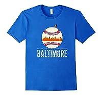 Baltimore Oriole Baseball Tshirt Hometown Skyline Design Premium T-shirt Royal Blue