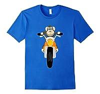 Southerndesigntees Cool Monkey Riding Motorcycle T-shirt Royal Blue