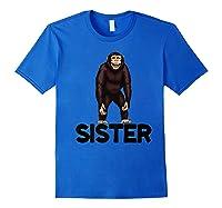 Monkey Sister Animal Jungle Humorous Premium T-shirt Royal Blue