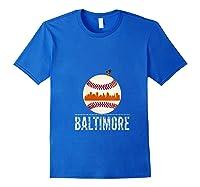 Baltimore Oriole Baseball Hometown Skyline Design Shirts Royal Blue