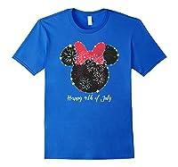 Disney Minnie Fire Works T Shirt Royal Blue