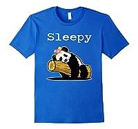 Sleepy Panda Shirt For Girls Cute Panda Flowers Lazy Relaxed Royal Blue