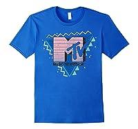 Pink Stripes Logo 90's Retro Design Graphic Shirts Royal Blue