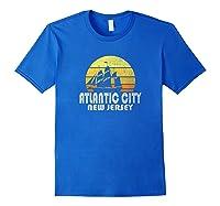 Retro Atlantic City Nj Beach Vacation T Shirt Royal Blue