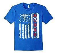 Patriotic American Usa Flag Correctional & Rn Nurse Tshirt Royal Blue