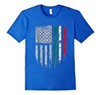 American Raised Mexican Roots Mexican Flag Gift Shirts Royal Blue