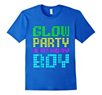 Glow Party Birthday Boy Party Gift Neon Retro Shirts Royal Blue