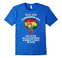 Ancestors Black African American Flag T Shirt Royal Blue