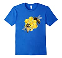 Honeycomb Pattern With Two Bees Drawing Shirts Royal Blue