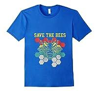 Save The Bees Vintage Retro Beekeeping Beekeeper Gift Shirts Royal Blue