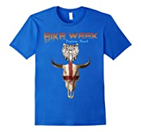 Bike Week Bull Head Skull Motorcycle T Shirt Royal Blue