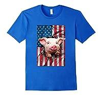 Pig American Flag Gift Funny 4th Of July America Shirts Royal Blue