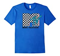 Mtv Checkered Logo Pink Shadow Turquoise Tv Graphic T-shirt Royal Blue