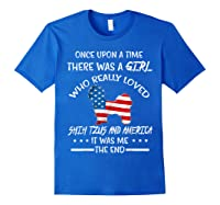 Once Upon A Time Shih Tzu America 4th Of July T Shirt Gift Royal Blue