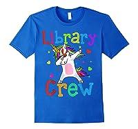 Library Crew Dabbing Unicorn 1st Day Of School Shirts Royal Blue