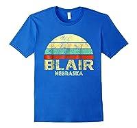 Blair Ne Nebraska Vintage Retro Sunset Tee T Shirt Royal Blue