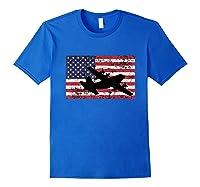 Patriotic C-130 Hercules Airplane American Flag T-shirt Royal Blue