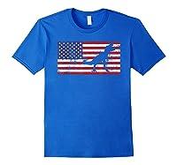 T Rex T Shirt American Flag Girls 4th Of July Dinosaur Royal Blue
