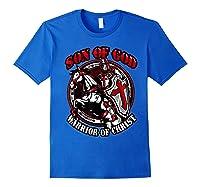 Knights Templar Tshirt Son Of God Warrior Of Christ Royal Blue