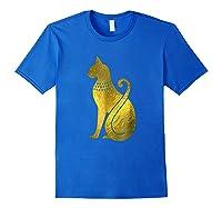 Ancient Egypt God Cat Archaeology Shirts Royal Blue