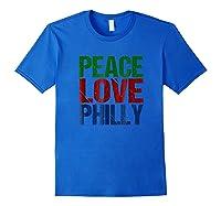 Peace Love Philly T-shirt For Philadelphia Royal Blue