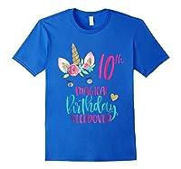 Unicorn 10th Magical Birthday Sleepover Party Girl Shirts Royal Blue