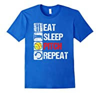 Eat Sleep Pitch Repeat Softball Player Pit Coach Premium T-shirt Royal Blue