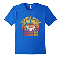 Retro Vintage Style Grampa Shark Gift For Father Dad Shirts Royal Blue