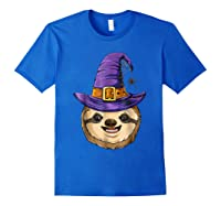 Sloth Witch T Shirt Halloween Girls Funny Costume Royal Blue