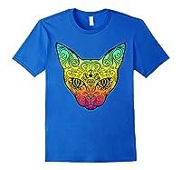 Techno Trance Edm Club Day Of The Dead Cat Sugar Skull Shirts Royal Blue