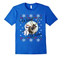 Frozen Olaf Sven Warm Wishes Ugly Sweater Shirts Royal Blue