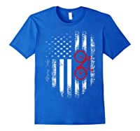 Vintage American Usa Flag Bicycle T-shirt Bicyclist Gift Royal Blue
