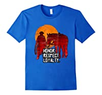 Red Horse Sunset T Shirt Honor Respect Loyalty Cowboy Royal Blue