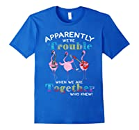 Music Band Flamingos Apparently We're Trouble Ts Shirts Royal Blue