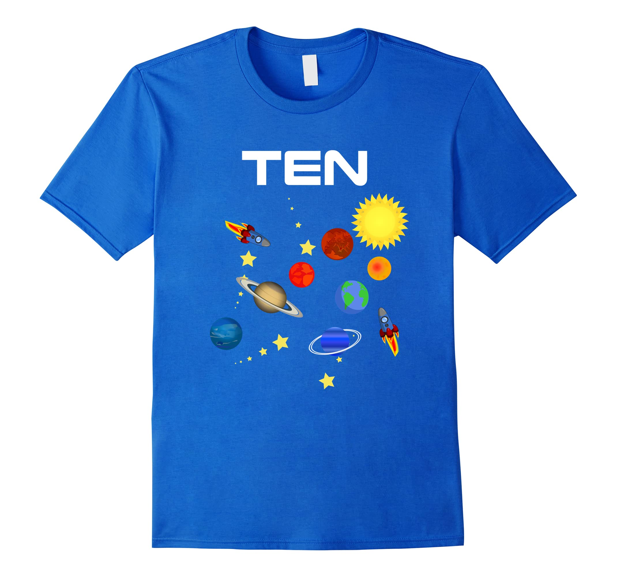 10 Year Old Outer Space Birthday Party 10th Birthday T-Shirt-RT