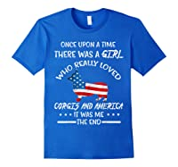 Once Upon A Time Corgi America 4th Of July T Shirt Gifts Royal Blue