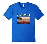 Gymnastics Usa American Flag Apparel Gymnast Grunge Design Shirts Royal Blue