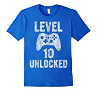 Level 10 Unlocked 10th Video Game Birthday Gift Shirts Royal Blue