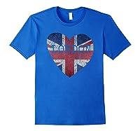 London Flag Uk Vintage Heart Gift Souvenir City T Shirt Royal Blue