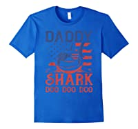 American Flag Daddy Shark Doo Doo Doo 4th Of July Shirts Royal Blue