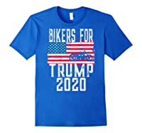 (print On Back) Bikers For Trump T-shirt Motorcycle Rally Royal Blue
