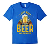 Funny Beer And Fishing Fathers Day Gift Adult Humor Shirts Royal Blue