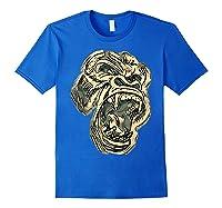 Angry Great Ape Art T-shirt Fierce Silverback Gorilla Face Royal Blue