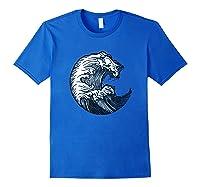Japanese Art Gift Ocean Wave Line Work Design Shirts Royal Blue