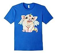 Cute Flying Unicorn Pig, Pigicorn Unipig Tshirt Royal Blue