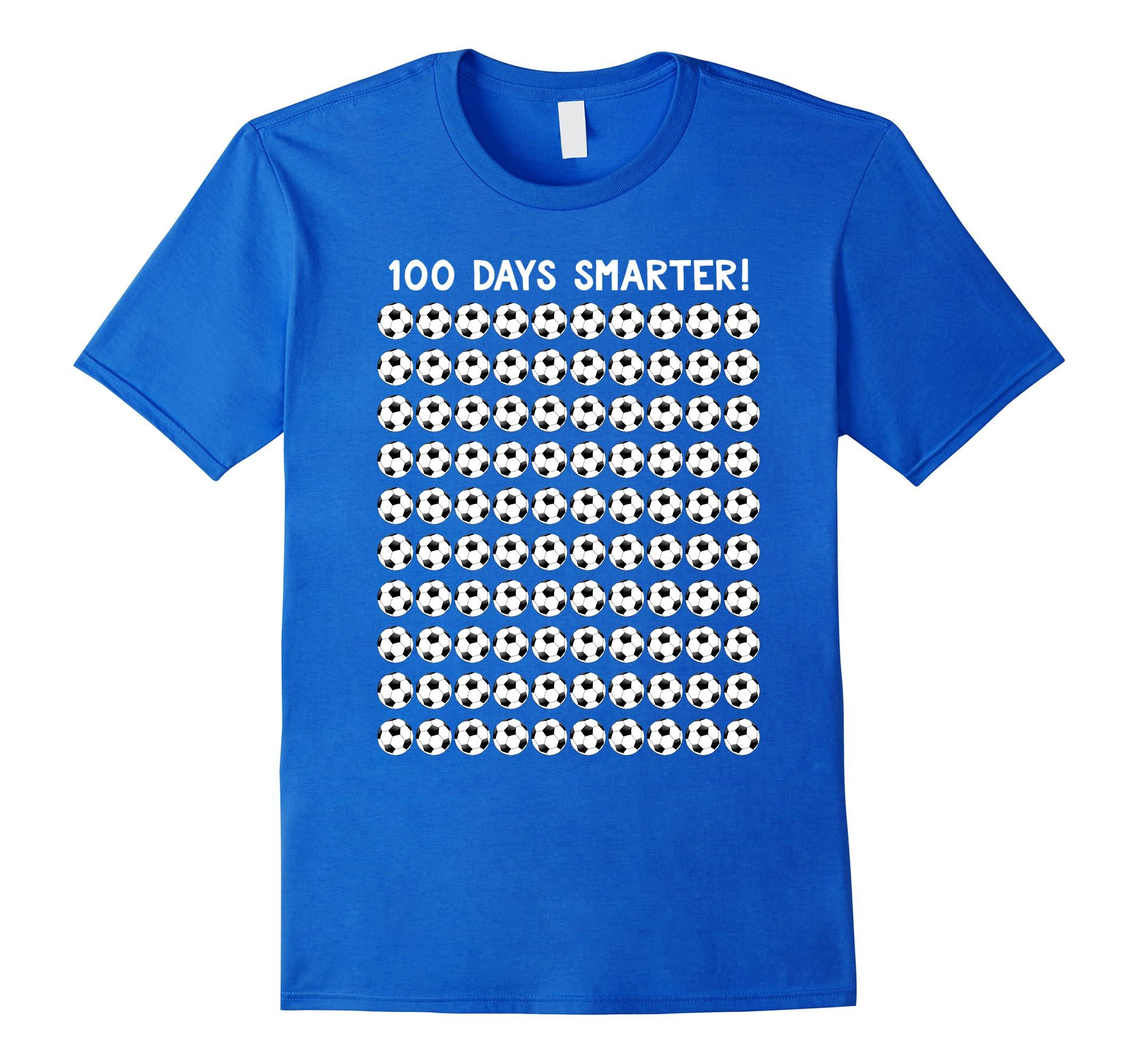 100 Days Of School T Shirt 100 Soccer Balls-RT
