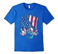 Vintage Bowling T Shirt American Usa Flag Bowling T-shirt Royal Blue