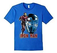 Avengers Endgame Iron Man Side Profile Graphic Shirts Royal Blue