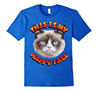 Grumpy Cat This Is My Happy Face Graphic Shirts Royal Blue